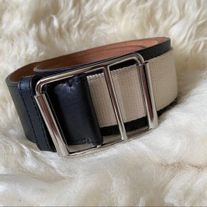 Martin +OSA leather and canvas contrast belt